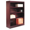 Square Corner Wood Veneer Bookcase, Four-Shelf, 35-5/8 x 11-3/4 x 48, Mahogany