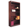"Square Corner Wood Veneer Bookcase, Six-Shelf, 35.63""w x 11.81""d x 71.73""h, Mahogany"
