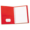 """Two-Pocket Portfolios with Tang Fasteners, 0.5"""" Capacity, 11 x 8.5, Red, 25/Box"""