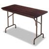Wood Folding Table, Rectangular, 48w x 24d x 29h, Walnut