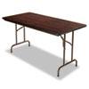 Wood Folding Table, Rectangular, 60w x 29 3/4d x 29h, Walnut