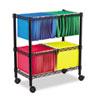 Two-Tier Rolling File Cart, 26w x 14d x 29.5h, Black