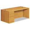 10700 Series Single Pedestal Desk, Full Left Pedestal, 72 x 36 x 29 1/2, Harvest