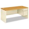38000 Series Right Pedestal Desk, 66w x 30d x 29-1/2h, Harvest/Putty