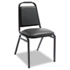 Padded Steel Stacking Chair, Black Seat/Black Back, Black Base, 4/Carton