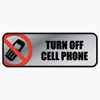 Brushed Metal Office Sign, Turn Off Cell Phone, 9 x 3, Silver/Red