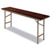 Wood Folding Table, Rectangular, 72w x 18d x 29h, Walnut