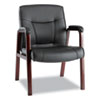 "Alera Madaris Series Bonded Leather Guest Chair, Wood Trim Legs, 25.39"" x 25.98"" x 35.62"", Black Seat/Back, Mahogany Base"