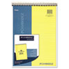 Stiff-Back Wire Bound Notebook, Legal Rule, 8 1/2 x 11, Canary Paper, 70 Sheets