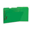 Deluxe Reinforced Top Tab Folders with Two Fasteners, 1/3-Cut Tabs, Letter Size, Green, 50/Box
