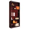 "Square Corner Wood Veneer Bookcase, Seven-Shelf, 35.63""w x 11.81""d x 83.86""h, Mahogany"