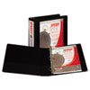 Speedy Spine™ Time Saving/Easy Spine Label Inserting 3 Ring View Binder, 2 Inch Round Ring, Customizable Clear View Cover, Black