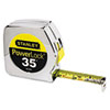 "Powerlock Tape Rule, 1"" x 35ft, Plastic Case, Chrome, 1/16"" Graduation"