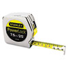 "Powerlock Tape Rule, 1"" x 25ft, Plastic Case, Chrome, 1/16""-1mm Graduation"