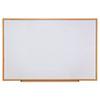 Dry-Erase Board, Melamine, 72 x 48, White, Oak-Finished Frame