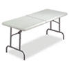 IndestrucTables Too Bifold Resin Folding Table, 60w x 30d x 29h, Platinum