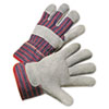 Leather Palm Work Gloves, Gray/Blue/White, 12 Pairs
