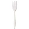 Medium-Weight Cutlery, Fork, White, 1000/Carton