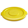 """Round Flat Top Lid, for 32-Gallon Round Brute Containers, 22 1/4"""", dia., Yellow"""