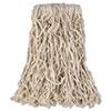 "Economy Cut-End Cotton Wet Mop Head, 16 oz., 1"" Band, White, 12/CT"