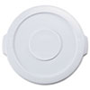 """Flat Top Lid for 10-Gallon Round Brute Containers, 16"""" dia., White"""
