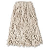 "Economy Cut-End Cotton Wet Mop Head, 20 oz., 1"" Band, White, 12/CT"