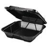 Snap It Foam Container, 1-Comp, 9 1/4 x 9 1/4 x 3, Black, 100/Bag, 2 Bags/Carton