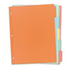 Plain Tab Write & Erase Dividers, 5 Tabs, Multicolor, 36/BX