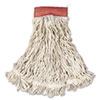 "Web Foot Wet Mop, Cotton/Synthetic, White, Large, 5"" Red Headband, 6/CT"