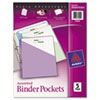 Binder Pockets, Acid-Free, Assorted Colors, 5/PK