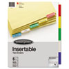 Single-Sided Reinforced Insertable Index, Multicolor 5-Tab, Letter, Buff, 5/Set