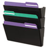 Wall File, Three Pocket, Plastic, Black