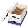 STOR/FILE Extra Strength Storage Box, Letter, Locking Lid, White/Blue, 12/Carton