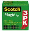 "Magic Tape Refill, 1/2"" x 1296"", 1"" Core, Clear, 3/Pack"