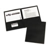 Two-Pocket Folders, Embossed Paper, Black, 25/BX