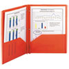 Poly Two-Pocket Folder w/Fasteners, 11 x 8 1/2, Red, 25/Box
