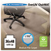 EverLife Chair Mats For Low Pile Carpet With Lip, 36 x 48, Clear