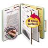 Pressboard Classification Folders, Tab, Letter, Six-Section, Gray/Green, 10/Box