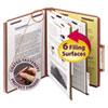 Pressboard Classification Folders, Self Tab, Letter, Six-Section, Red, 10/Box
