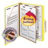 Pressboard Classification Folders, Letter, Four-Section, Yellow, 10/Box