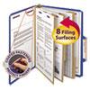 "3"" Expansion Classification Folder, 2/5 Cut, Letter, Eight-Section, Blue, 10/Box"