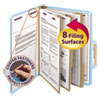 """3"""" Expansion Classification Folder, 2/5 Tab, Letter, Eight-Section, Blue, 10/Box"""