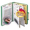 Pressboard Classification Folders, Letter, Six-Section, Green, 10/Box