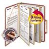 Pressboard Classification Folders, Self Tab, Letter, Eight-Section, Red, 10/Box
