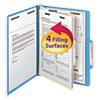 Top Tab Classification Folder, One Divider, Four-Section, Letter, Blue, 10/Box