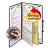 Pressboard Classification Folders, Legal, Six-Section, Dark Blue, 10/Box