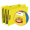 Folders, Two Fasteners, 1/3 Cut Assorted, Top Tab, Legal, Yellow, 50/Box
