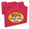SuperTab Colored File Folders, 1/3 Cut, Letter, Red, 100/Box