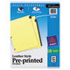 Black Leather Preprinted Dividers, Premium Reinforced Holes, 12-Tab Set, Jan.-Dec.