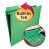 FasTab Hanging File Folders, Letter, Green, 20/Box